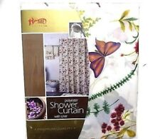 Butterfly and Floral Polyester Fabric Shower Curtain Ring Hooks Liner Bathroom