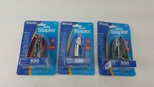 3 PACK MINI STANDARD STAPLER WITH STAPLES ASSORTED COLORS RED BLUE BLACK