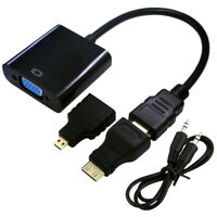 20cm 1080P Mini HDMI Male To VGA Female Video Converter Adapter Cable For HDTV