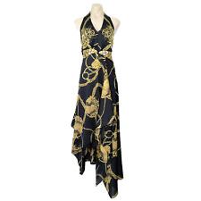DUSUD ERROL FRENDZ Designer Dress Asymmetrical Handkerchief Black Gold Size UK10