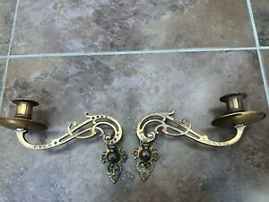 quality pair of art nouveau brass piano sconces ( wall type bracket )