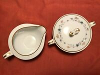 Sugar Bowl & Creamer Set by Noritake China Elmdale Blue & Gold Leaves 6219 Japan