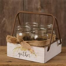 Country new mason jar wood caddy w/ 4 jars /GATHER