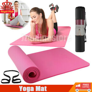 61x185cm Yoga Mat 10mm Thick Gym Exercise Fitness Pilates Workout Mat Non Slip