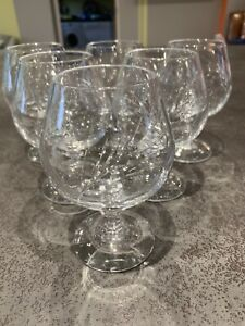6 Crystal D'arques Fleurie Brandy Glasses.  Great Condition
