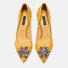 NIB $895 DOLCE & GABBANA Bellucci Yellow Lace Crystal Pumps EU 36.5 / US 6