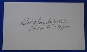 BOB HOUBREGS HOF signed 3 by 5 index 1953-58 Hawks Pistons Bullets deceased 2014