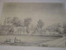 Ecole FRANCAISE XIX DESSIN CRAYON PAYSAGE CHAMPETRE ANIME PAYSANS VILLAGE 1850