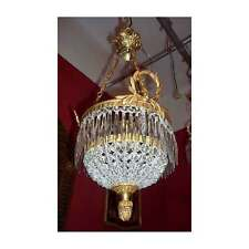 French Gilded Brass Crystal Chains Acanthus Finial Ceiling Chandelier