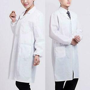 Men/Women White Lab Coat Hygiene Food Industry Doctors Laboratory Medical Coat