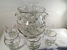 .Bowle Service Glas + 10 Gläser schlicht klar grün Luftblasen Handarbeit 20 Jah.