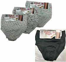 Ladies Floral Plain Black Cotton Full Briefs  Pastel Women Knickers Pack 3,6