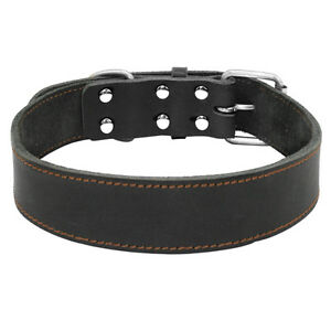 Medium Large Dogs Genuine Leather Collar Best Heavy Duty Black Necklace Labrador