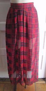 Living Doll Los Angeles Tartan Scotch Plaid Skirt Sheer Maxi Long Comfort Waist