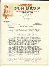 Vintage Illustrated Color Letterhead JF LAZIER Sun Drop Orange Concentrate 1932