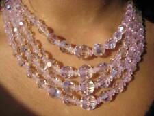 "4 Strand VTG Graduated Crystal Necklace Aurora Borealis 2.75"" Crystal Extender"