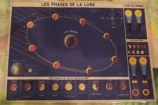 Ancienne Carte expo Affiche Scolaire  42x30 Les Phases de la Lune Éclipses