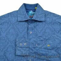 ROBERT GRAHAM Blue JUMBO GEOMETRIC 100% Cotton Mens Casual Dress Shirt - SMALL