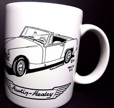 Austin Healey 1964 1966 Model S3 3000 Ceramic White 12 oz Coffee Mug E H Lawton