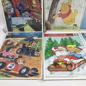 Vintage Frame Tray 12 Puzzle Lot 1964-1993 Disney Whitman Mickey Spider-Man Pooh