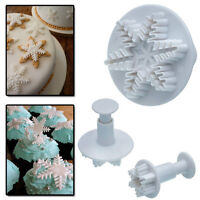 3X Snowflake Fondant Plunger Cutter SugarCraft Cake Decorating Icing Xmas GSM