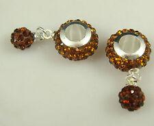 hot Gorgeous Czech Crystals Dangle Bead fit European Charm Bracelet Earrings &3s