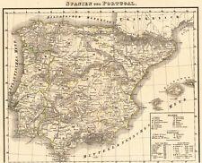 ⛲️🐃  ORIGINAL 177 Jahre alte Landkarte von PORTUGAL und SPANIEN 1842