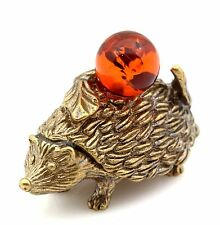 Hedgehog Honey Baltic Amber Apple Brass Figurine Miniature Animal Sculpture
