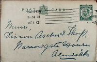 King George V ½ Penny Antique Postcard Posted from Newcastle 1st October 1913