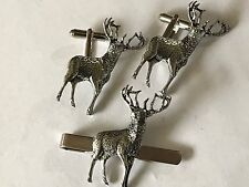 Tie Slide Set A31 Made From English Pewter Stag On A Pair of Cufflinks With A
