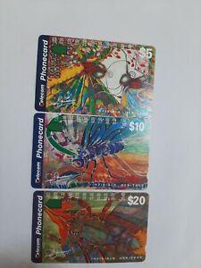 Set X 3 Mint Phonecards Invisible Heritage  Prefix 825. 835. 836