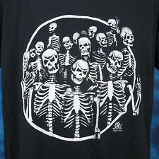 vintage 80s SKELETON GANG PAPER THIN T-Shirt LARGE/XL biker skull punk rock soft
