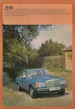Mercedes-Benz 200 Saloon W123 Specification 1976-78 UK Market Foldout Brochure