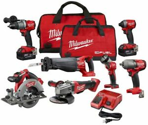 Milwaukee Tool M18 FUEL 18V Li-Ion Brushless Cordless 7 Tool Combo Kit