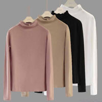 Autumn Women Long Sleeve Turtleneck Stretch Slim Bottom Casual Tops Blouse 3XL