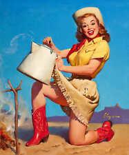 'TOPS IN SERVICE' 1950s ELVGREN VINTAGE PIN UP GIRL WESTERN POSTER PRINT 24x20
