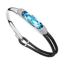 18K White Gold GP Made With Swarovski Crystal ELEMENTS Fashion Charm Bracelet