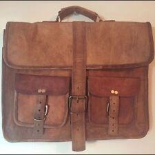 """Men Rare 16"""" Leather Vintage Brown Messenger Shoulder Laptop Bag Briefcase Large"""