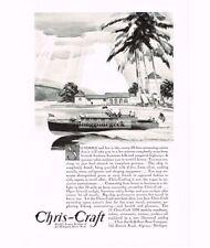 1930 Chris-Craft Motor Boat 38-foot Commuting Cruiser art Vtg Print Ad