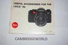 Leitz Leica Wetzlar Useful Accessories for the Leica R4 Camera Manual Guide Book