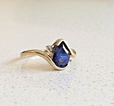 9ct yellow gold, sapphire & diamond ring size P