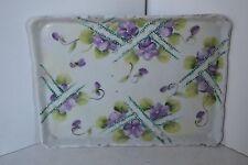 Vintage Hand Painted Flower Violets Porcelain Tray