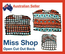 Sz M Miss Shop Black Urban Tshirt Singlet Loose Top Backless Geometric Hippie