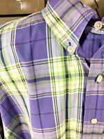 Brooks Brothers Plaid Button Down Shirt Purple Green Sz XL 52' Chest NWOT $92