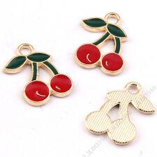 Enamel Charms Cherry Fruit Pendant Bracelet Necklace Earring DIY Making 1009H