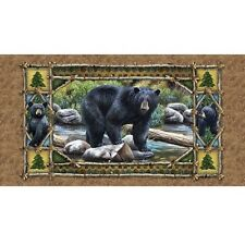 "BEAR COUNTRY SCENIC / CHESTNUT 23"" x 44"" CYNTHIA FISHER 100% COTTON FABRIC PANEL"