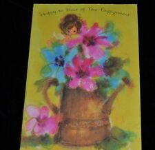 Vtg WATERCOLOR PIXIE FAIRY ANGEL Greeting Card ENGAGEMENT Unused Amer Greeting