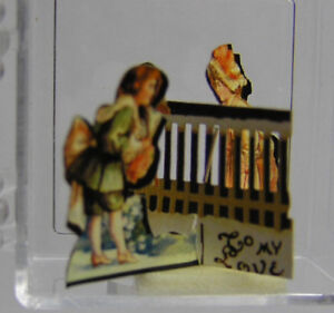 Miniature Dollhouse Vintage 3-D Valentine Card/Fence