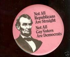 LINCOLN pin NOT all Republican Straight GAY 1970s pinback