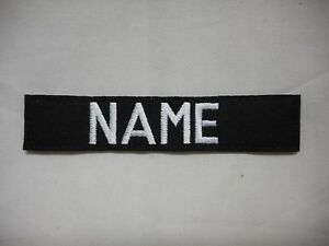CUSTOM EMBROIDERED BLACK NAME TAPE, NEW, 5 INCH LENGTH, WITH HOOK FASTENER*